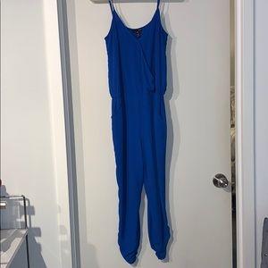AQUA royal blue spaghetti strap jumpsuit